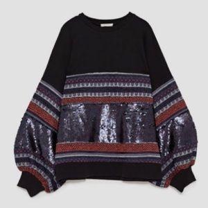 NWT Zara Navy Sequin Stripe Pullover Sweatshirt